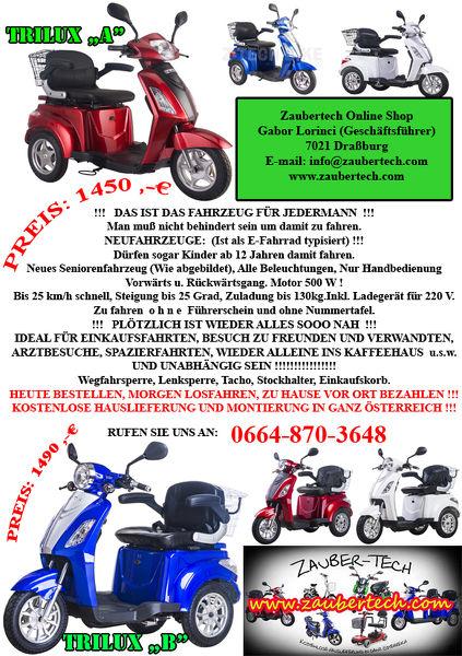 Elektrodreirad, Freizeitfahrzeug ohne Führerschein und Kennzeichen. Neu, Originalverpackt, mit Garantie!