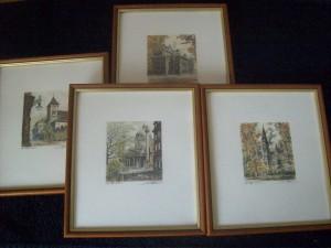 4 Radierungen von Kovacs, Ruprechtskirche , Karlskirche , Rathaus , Oper