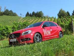 Eine Probefahrt mit der neuen A-Klasse von Mercedes.
