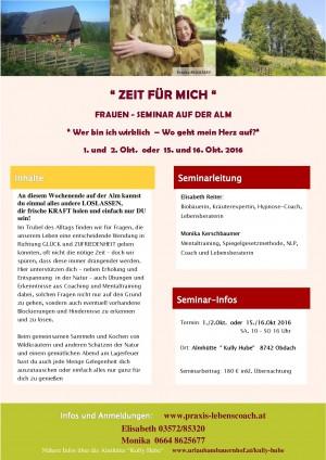 """""""ZEIT FÜR MICH"""" Frauenseminar auf der Alm"""