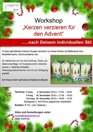 "Workshop ""Kerzen verzieren für den Advent"""