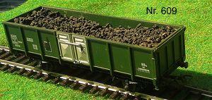 Nr. 609   JOUEF H0; Güterwagen offen mit Kohlenbeladung, 2 achsig