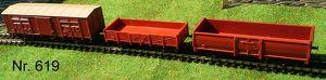 Nr. 619   3 Stk  ROCO H0,Güterwagen, 2 achsig, beschriftet