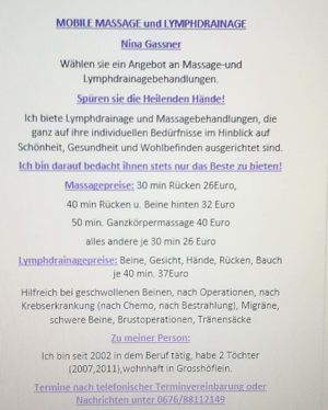 Mobile Massage und Lymphdrainage