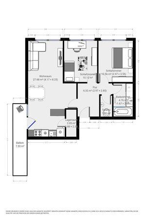 62m² Wohnung mit 2 Schlafzimmern