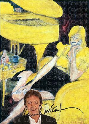 Beatle PAUL MCCARTNEY Kunstplakat mit Autogramm. 40x28,7 cm. Souvenir. Geschenk. Sammlerstück. Andenken. Seltenheit. Makellos!