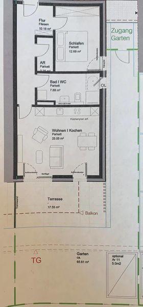lichtdurchflutete 2-Zimmer Neubau-Gartenwohnung