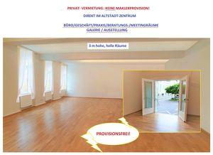 Provisionsfrei: IM ALTSTADTZENTRUM SALZBURG: Andräviertel - Wolf-Dietrichstrasse:  96 m2 mit 3 m hohe, helle neuwertige Räume für AUSSTELLUNG/BÜRO/ORD