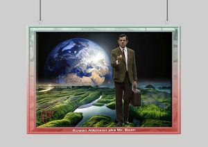 Rowan Atkinson/Mr. Bean. Einmaliger Kunstdruck. 45x30 cm. Muss man haben! Souvenir. Wandbild. Geschenk. Andenken. Sammelobjekt. Deko. Rarität. BRANDNE