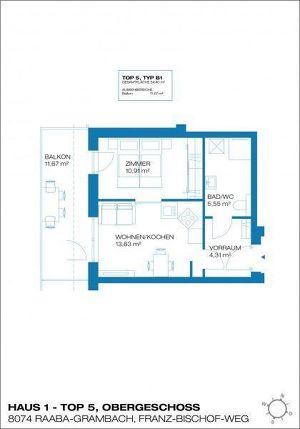 Raaba - Erstbezug - 34m² -  2 Zimmer Wohnung - großer Balkon - inkl. Parkplatz
