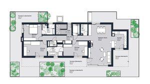 Penthouse im Grünen für gehobene Ansprüche, inklusive 183 m² großer Rundum-Terrasse. Erstbezug in Achau nahe Wien