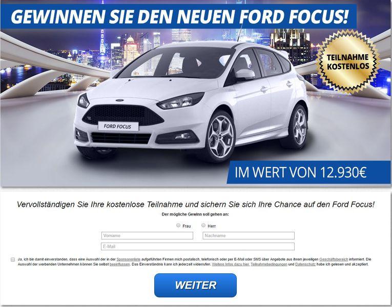 Auto Gewinnspiel : Ford Focus