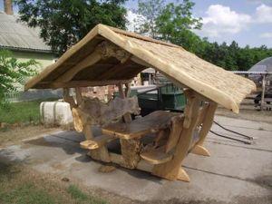 Pavillon, überdachte Massivholz Garnituren, Tische, Stühle, Bänke