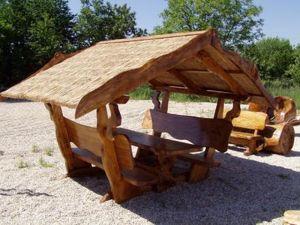 Überdachte Massivholz Garnituren, Pavillon, Tische, Stühle, Bänke