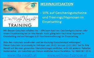 10% auf Geschenkgutscheine und Trainings/Hypnosen im Einzelsetting