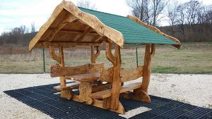 Pavillion, überdachte Garnituren aus Massivholz