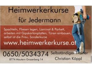 Kurse für Frauen und Männer Heimwerker & Häuslbauer