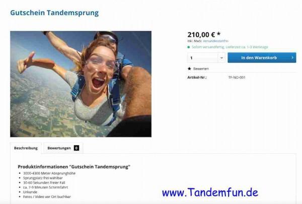 Tandemsprung Gutschein 210 Euro