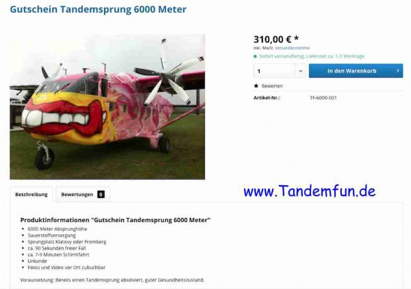 Tandemsprung Gutschein 6000m 310 Euro