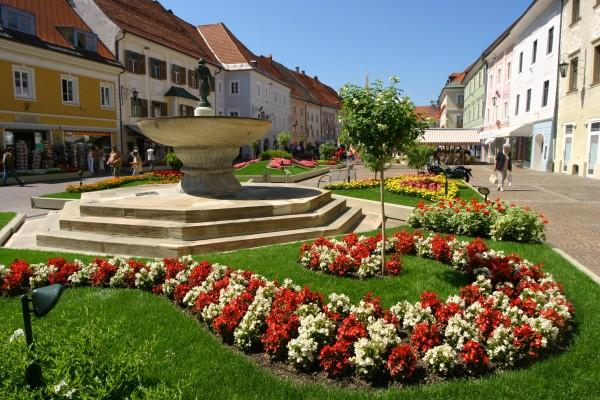 Hauplatz Blumen geschmückt