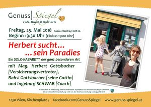 Das Kleinkunst-Café GenussSpiegel präsentiert: Herbert sucht sein Paradies – ein Kabarett SOLO-KABARETT der ganz besonderen Art
