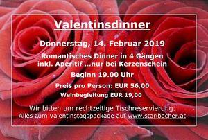 Romantisches VALENTINSdinner bei Kerzenschein im Restaurant Staribacher