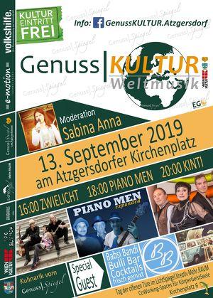 GenussSpiegel präsentiert: WELTMUSIK auf der GenussKULTUR-Bühne  am Atzgersdorfer Kirchenplatz - am 13. September 2019 – Eintritt frei